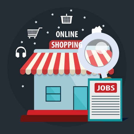 Vector shopping online illustration, marketing and online store with