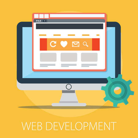 Vector illustration of website development concept & programming, coding technology - internet technology.