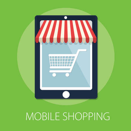 Vector illustration of Shopping Online and Mobile Application with