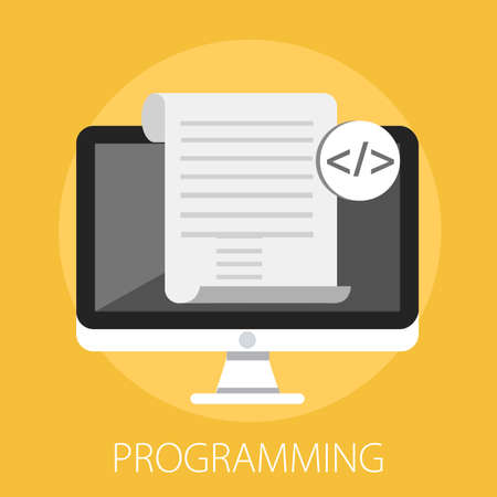 Vector illustration of computer software and web developer with