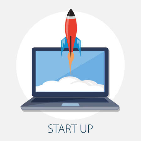 Vector illustration of rocket launch and space with