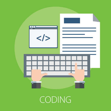 "Vector illustration of coding & development or software solution concept with ""coding"" website technology and programming concept."