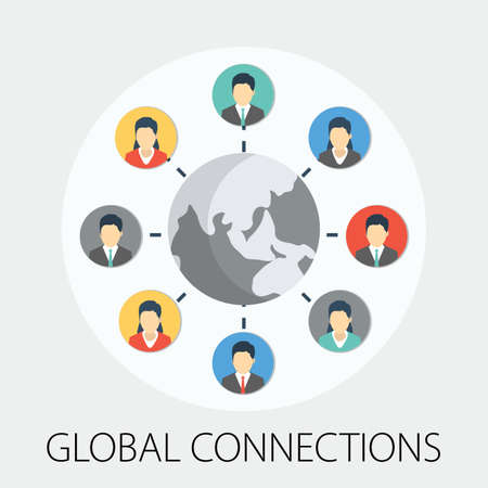 Vector illustration of global network connection & people network concept with