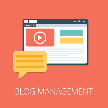 Flat illustration of Blog Management․ Modern Vector Icon. Blogging, Management, Online Blog. Content Management. Creative Writing Vetores