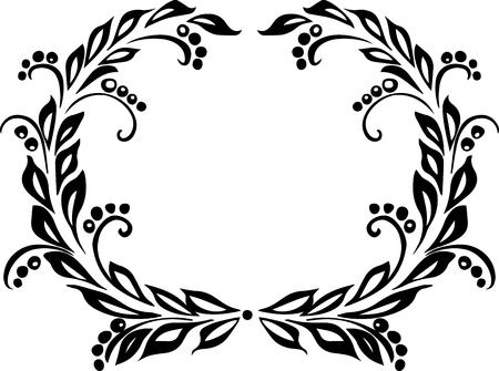 black wreath: drawing black decorative vector wreath