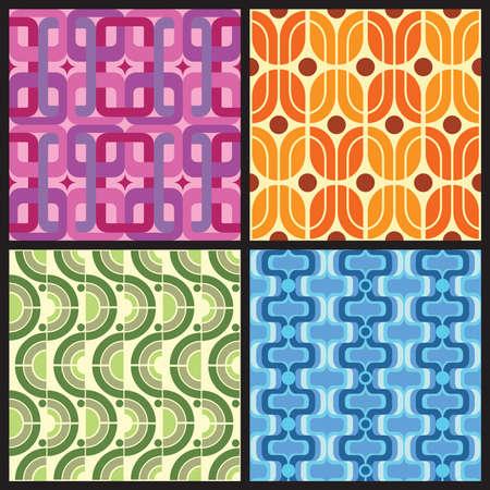 4 つのレトロなスタイルのカラフルなパターン