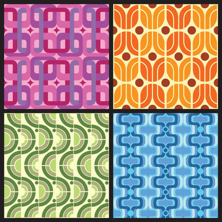 pearls and threads: Four Retro style colorful patterns
