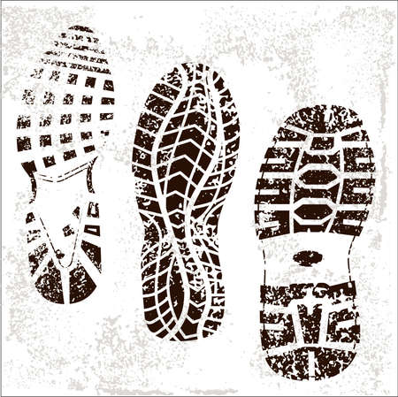 walking shoes: A high detailed set of three grunged shoe tracks Illustration