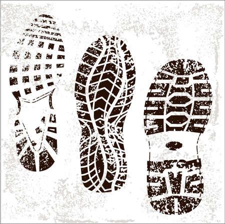 Un conjunto de alta detallada de las tres pistas de calzado Grunged