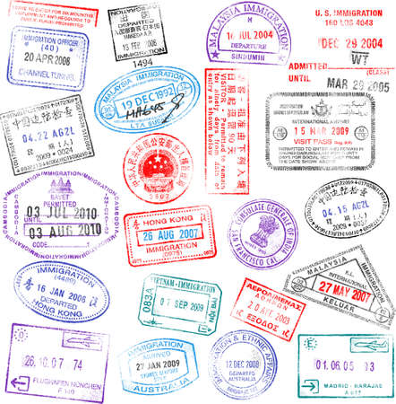 passport stamp: A collection of highly detailed passport stamps, all inspired from real passport stamps, but completely created using Illustrator CS3.