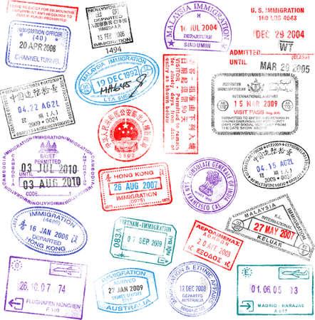 pasaporte: Una colección de sellos de pasaporte muy detallados, todos inspiraron en sellos de pasaporte verdadero, pero completamente crearon con Illustrator CS3.