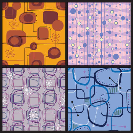 Vier Retro stijl kleurrijke patronen