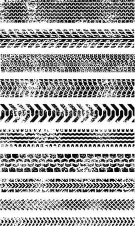huellas de llantas: Conjunto de 10 canciones de neum�ticos grunged de alta calidad, muchos tipo de neum�ticos incluye, como motocicletas, autom�viles, orugas, bicicletas, neum�ticos de lluvia Vectores