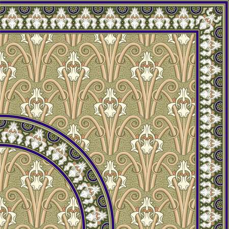 A perfect, high quality and detail, classic seamless pattern with a repetitive frame, with both squared and round version.