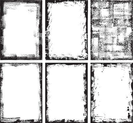 高詳細グランジ フレームと要素のコレクション。すべての要素が、スキャンされた紙の vecorized で制作され、イラストレーター CS3 上に最適化されま