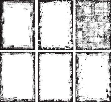 높은 세부 그런 지 프레임과 요소의 컬렉션입니다. 모든 요소는, 종이에 생산 스캔 한 다음 vecorized과 일러스트 레이터 CS3에 최적화 된