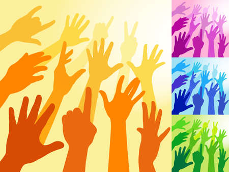 raised hand: A collection of hands and raised arms shapes  Illustration