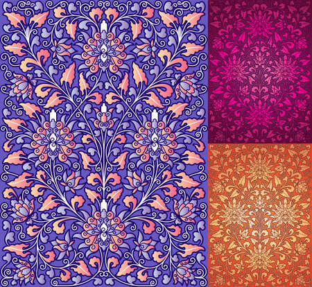 A high detial reproduction in full vectors of a Chinese Traditional floral pattern Vector