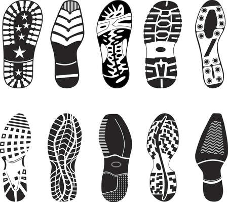 walking shoes: A collection of various highly detailed shoe tracks. Elegant, sporty, formal, mountain boots and child boots are included.