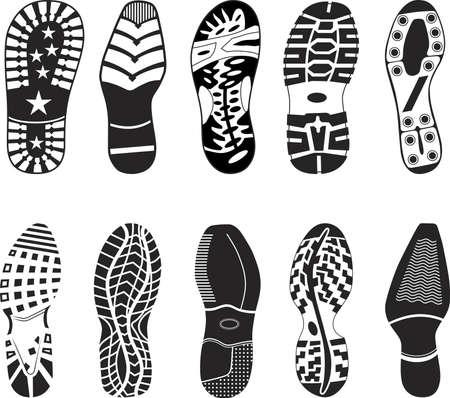 Een verzameling van verschillende zeer gedetailleerde schoen tracks. Elegante, sportief, formele, berg laarzen en kind laarzen zijn opgenomen. Vector Illustratie
