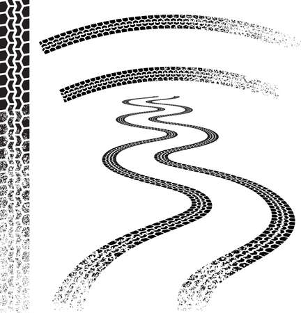 tyre tracks: Conjunto de pistas de neum�ticos grunged de alta calidad
