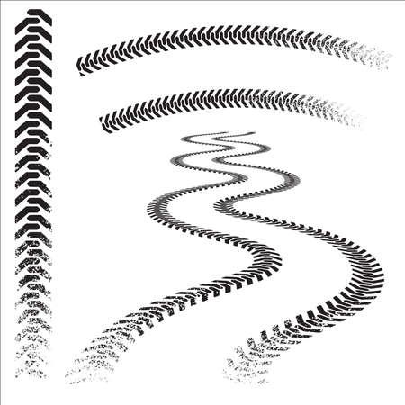 huellas de llantas: Conjunto de pistas de neum�ticos grunged de alta calidad