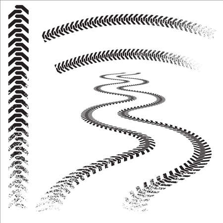 Set of high quality grunged tire tracks Stock Vector - 10828778