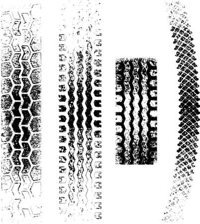 car tire: A collection of 4 Grunge tire tracks, negative and positive