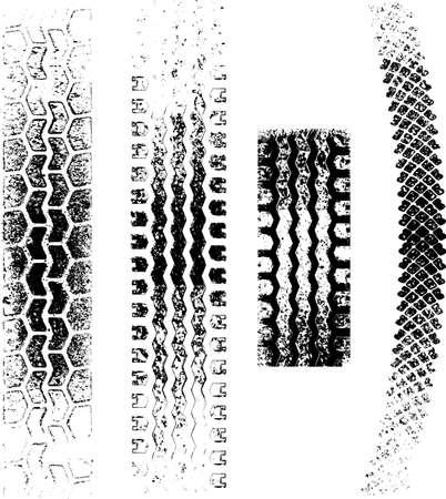 traces pneus: Une collection de quatre traces de pneus grunge, n�gatifs et positifs