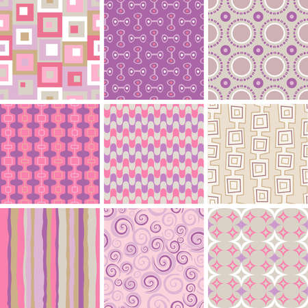 Collection of nine retro style, seamless patterns, of pink and purple colors Illustration