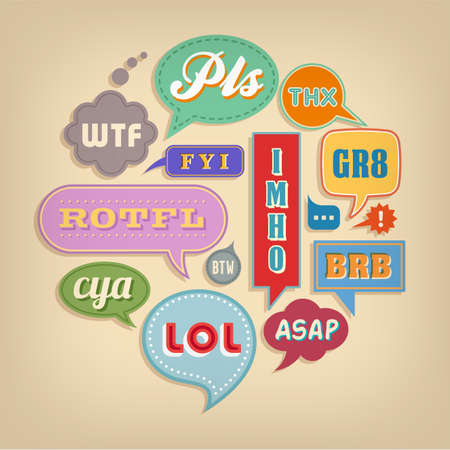 A set of colorful vector comic bubbles and elements with popular acronyms and abbreviations