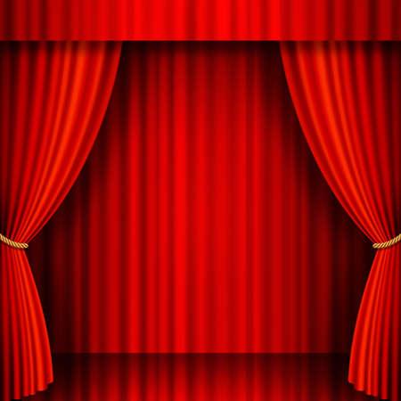 Illustratie van een theater podium met rode fluwelen gordijnen