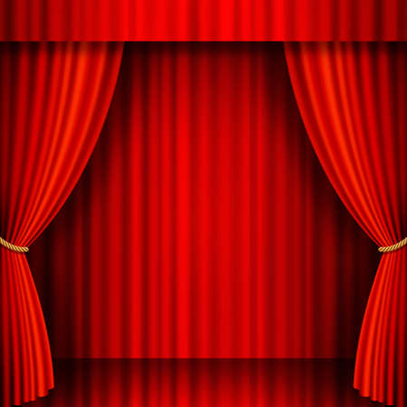Illustration of a Theater stage with Red Velvet Curtains   Vector
