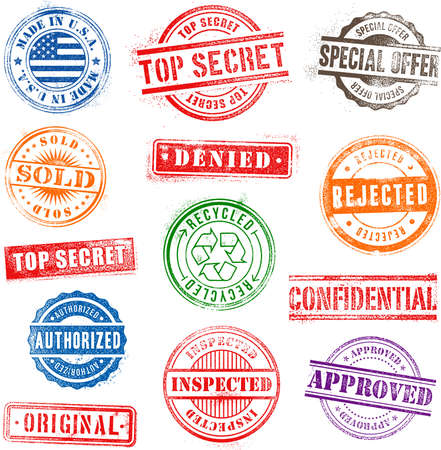 Collection of 13 Hi detail commercial grunge multicolored stamps  Vector