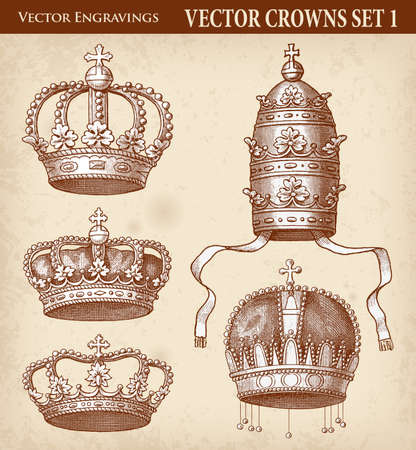 Set of five Vector Crown illustration, both royal and Religious.