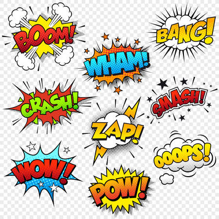 Collection of nine multicolored comic sound Effects photo