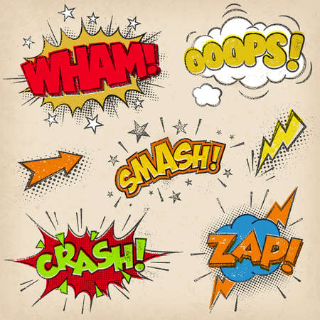 Collection of four multicolored comic sound Effects with a grunged Print Style Illustration