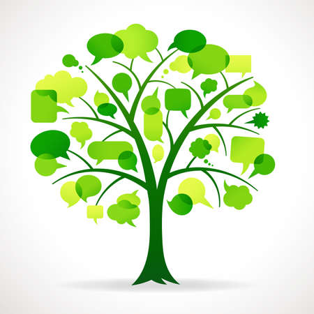 symbols metaphors: Illustration of a Green Tree with Speech bubbles in place of Leaves