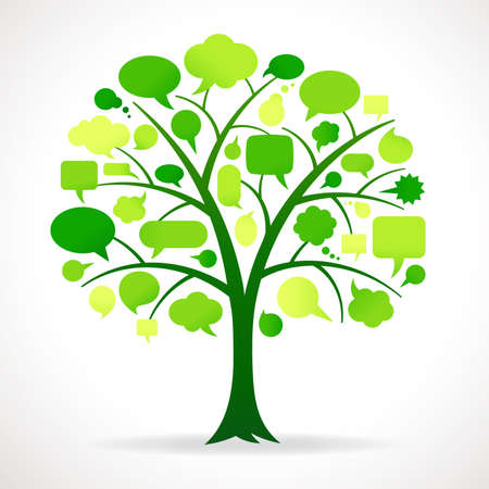 Illustration of a Green Tree with Speech bubbles in place of Leaves