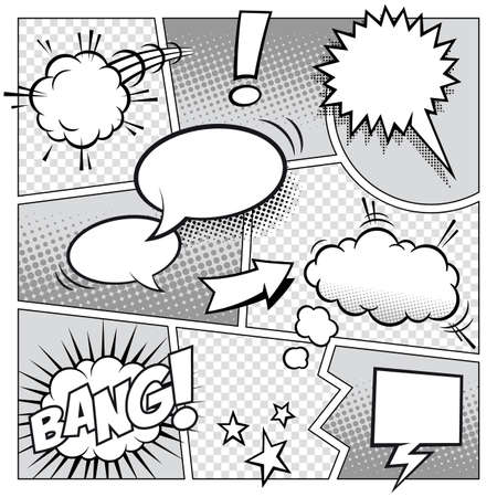 A high detail mockup of a typical comic book page with various speech bubbles, symbols and sound effects  Illustration