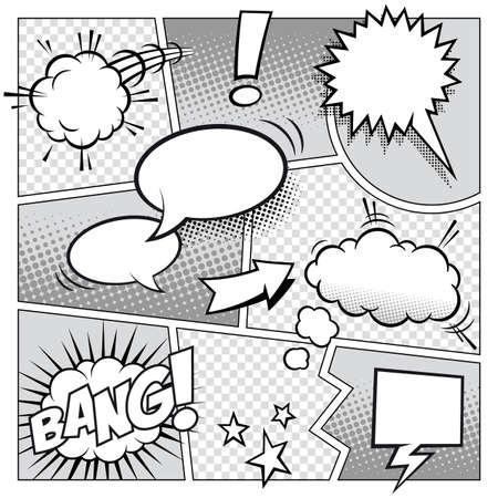 burbuja: Una maqueta de un gran detalle de una página de cómic típico con burbujas de discurso diferentes, símbolos y efectos de sonido