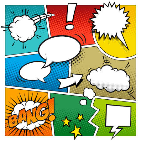 comic book: A high detail mockup of a typical comic book page with various speech bubbles