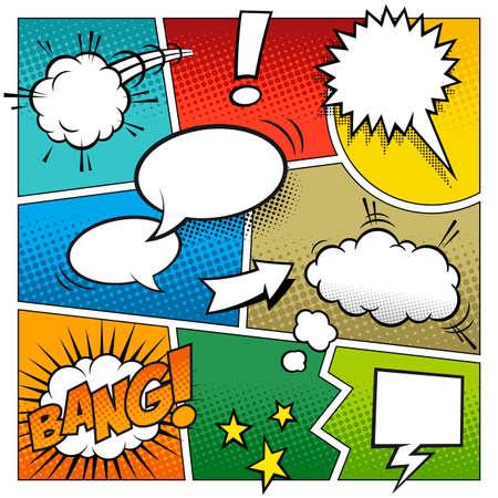 Una maqueta de un gran detalle de una página de cómic típico con varios globos de texto Vectores
