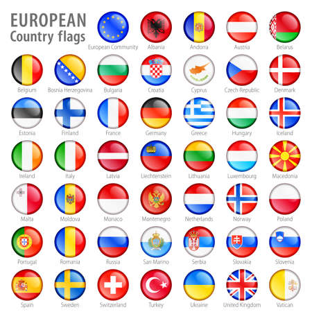 Hi detail vector shiny buttons with all European flags  Every button is isolated on it Stock Photo