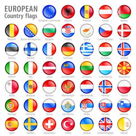 Hola detalle vector botones brillantes con todas las banderas europeas Cada botón se aísla en ella