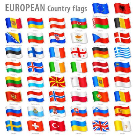 すべてヨーロッパの国旗、シミュレートされた 3 D 振る位置に、名前とグレーの影すべてのフラグのベクトル コレクションの適切な名前を持つレイ