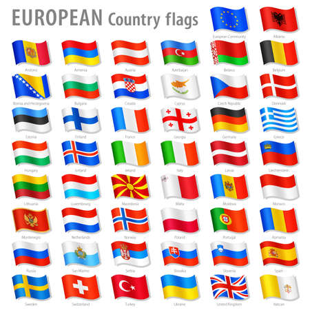 Vector Collection of all European National Flags, in simulated 3D waving position, with names and grey shadow  Every Flag is isolated on its own layer with proper naming  Ilustracja