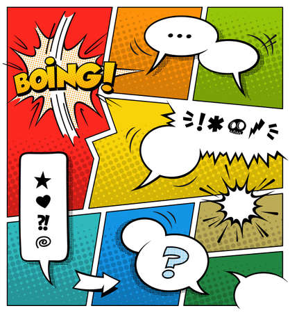 A high detail vector mockup of a typical comic book page with various speech bubbles, symbols and sound effects and colored Halftone Backgrounds.