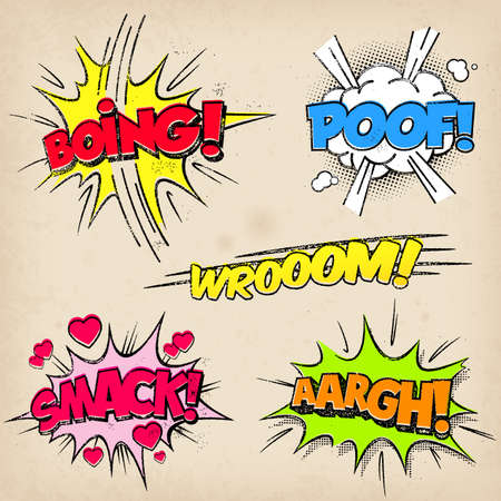 Collection of five multicolored comic sound Effects with a grunged Print Style Ilustração