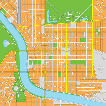 Vector illustration of an imaginary city map. All elements are isolated on different layers for ease of editing.